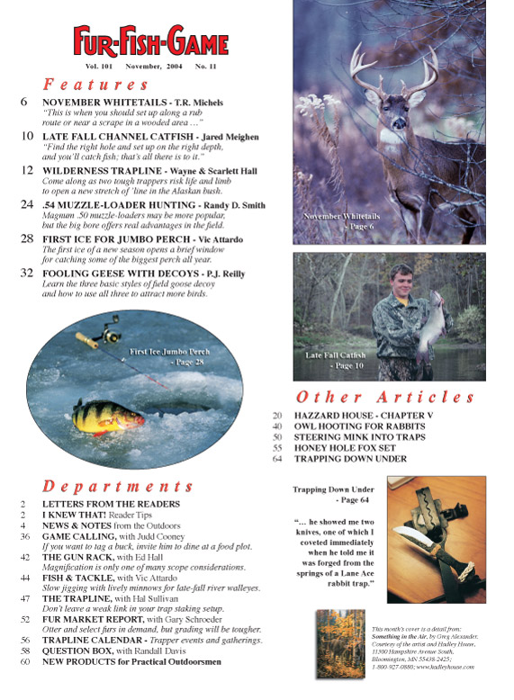 Fur fish game magazine november 2004 whitetail deer for Nd game and fish stocking report
