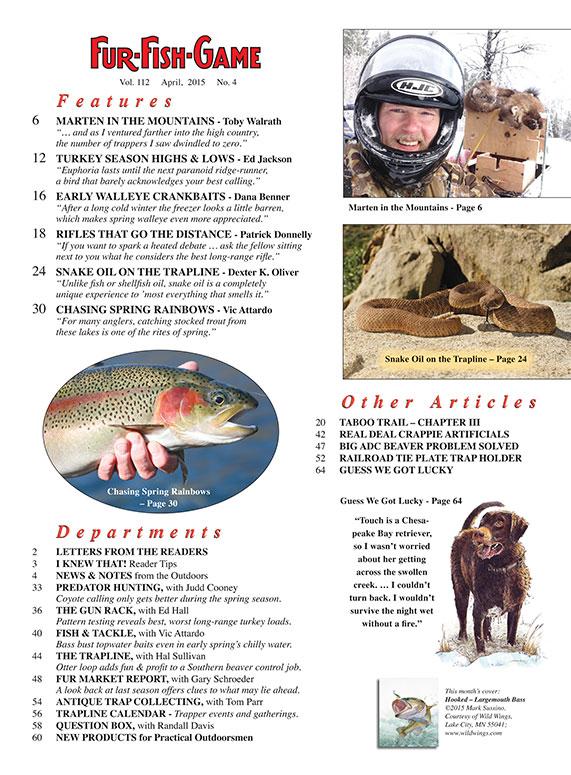 Fur fish game magazine april 2015 for Fur fish and game