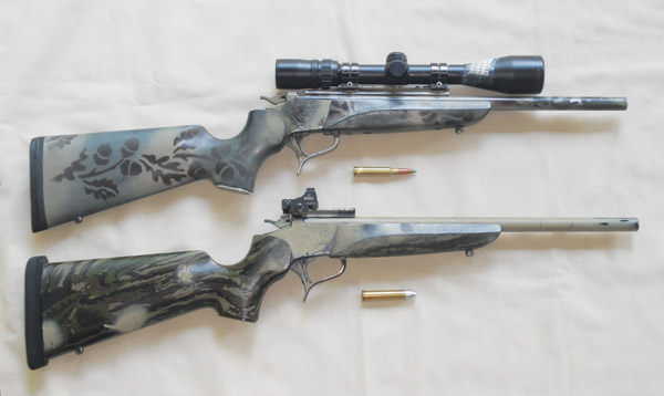 T/C .309 JDJ topped with forward-mounted Bushnell Elite 4200, 2.5-10X scope in Weaver mounts (top). Super lightweight .45-70 topped with Burris FastFire II, rear-mounted to increase already wide field of view (bottom)