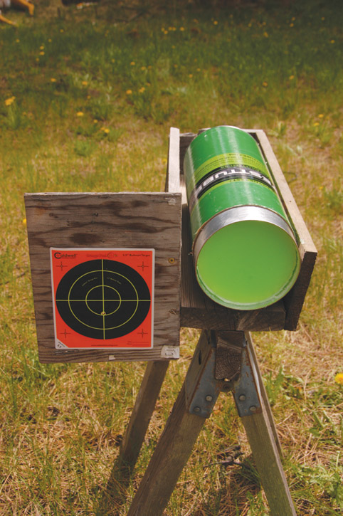 ballistic test tube gel with target
