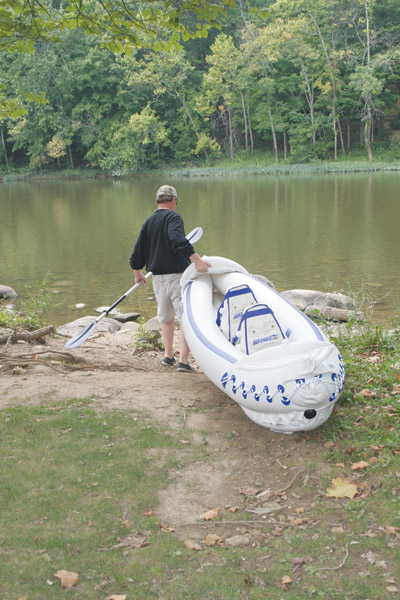 launching the sea eagle pro inflartable kayak