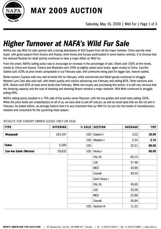NAFA Wild Fur Auction Results 1