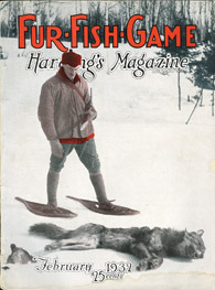 February 1932 snowshoed hunter with wolf