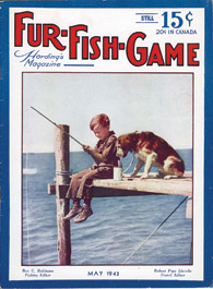 May 1943 boy and dog fishing