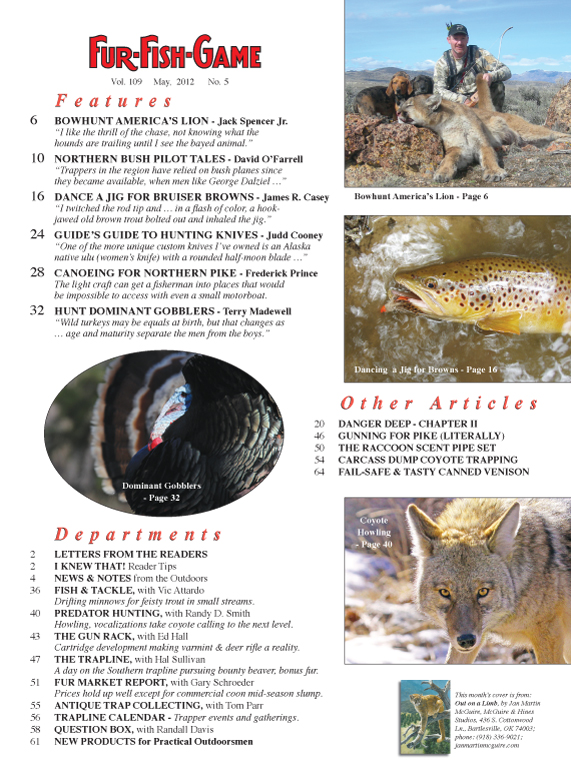 May 2012 fur fish game index page for Fur fish and game