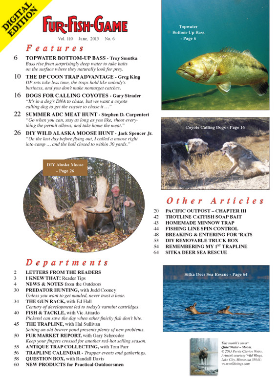 June 2013 fur fish game index page for Fur fish and game